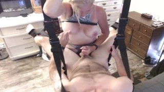 Husband PEGGED Hard & EDGING Blowjob by MILF wife in SEX SWING HARD Passionate SEX- FULL on ONLYFANS