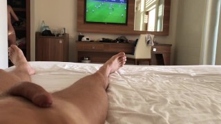 Watching Soccer match interrupted by passionate sex with tight blonde