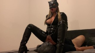 FEMDOM Catwoman rides on Batman's face in full latex suit with high boots and gloves FACESITTING