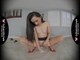 Solo chick, Georgia Jones is using a big dildo, in VR