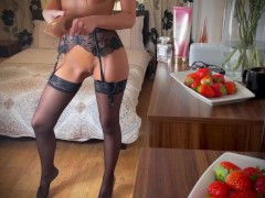 Adeline Murphy Is Getting Ready For Work. She Masturbates & Stuffs Her Pussy With Her Panties & Heel