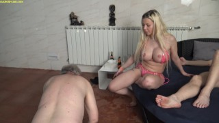 old cuckold slave husband get dominated by his young wife in front of her lover