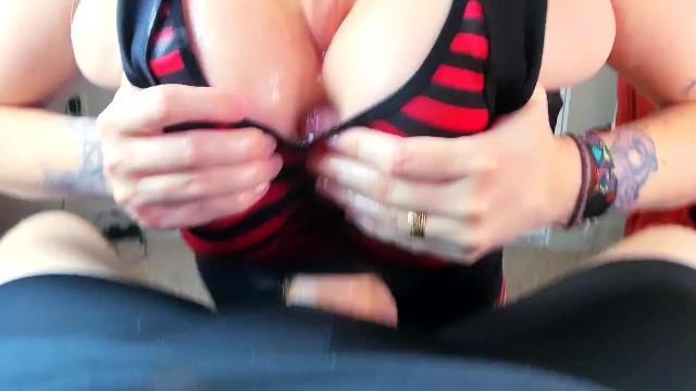 Soapy Big Tits MILF Teasing In Steamy Shower & Sloppy Deepthroat Blowjob & Oily Sports Bra Titfuck 7