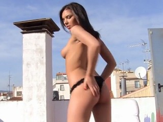 Rooftop young babe with perfect natural tits...