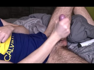 Hairy muscle stud home alone blows his load...