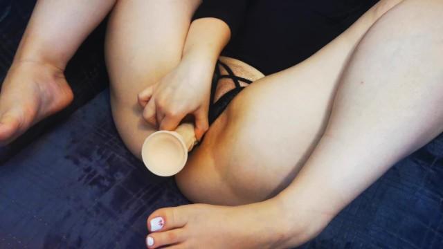 Sweet Teen Pussy Big Dildo Black Panties 8
