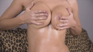 NyanSally - Sexy Rubbing Oily Big Saggy Tits Of Perfect MILF