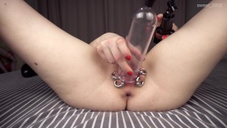 Pumped pierced pussy squirt a lot, get orgasm with magic wand (4K)