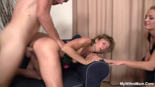 Hairy girlfriends stepmom taking his cock from behind