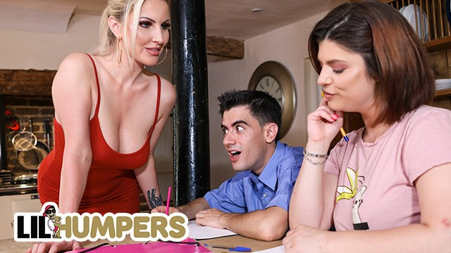 LIL humpers - Milf Georgie Lyall Catches Her Daughter's Study Friend Humping A Pillow And Joins In