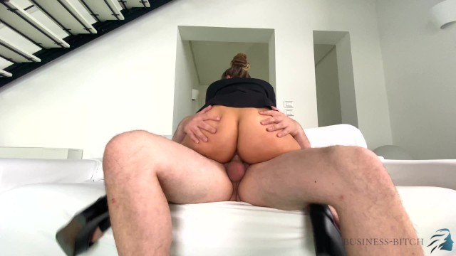 sexy real estate business woman used in a luxury villa - pressed tits on the window_LONG 12