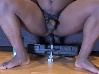 Guy Rides Dildo Hard & Fast while Watching Porn
