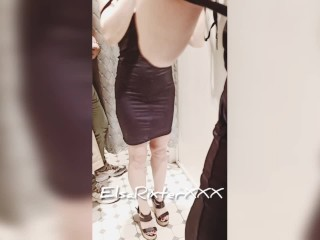 Teases undresses, no panties, naked in a Changing Room, Real in MALL - ElsaRixterXXX