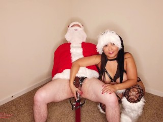 Asian hotwife rides cuckold santa in chastity wearing...