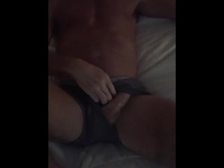 Muscle hunk cock jacking off with cumshot...