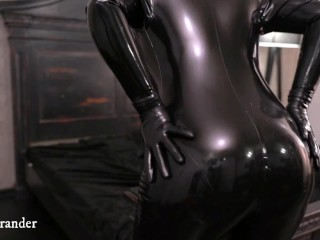 Hot Horny Woman In Black Latex Catsuit Slow Sexy Movements And Masturbaton Relaxings On The Bed