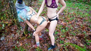 outdoor public big tit lesbian strap on in forest