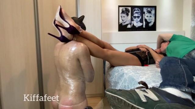 Goddess Kiffas Cuckold licks alpha cum and lick purple high heels soles CUCKOLD LICK ALPHA CUM 5