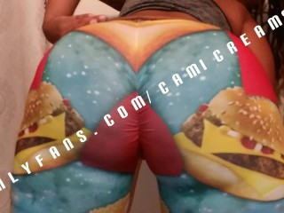 Mcdonalds burger tights hugs booty clapping bent over...