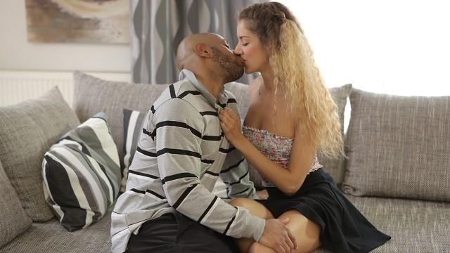 BLACK4K. Skinny babe Monique Woods seduces black owner of the house
