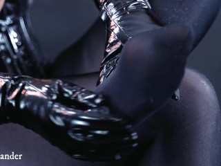 Foot Fetish Nylon In Black Pantyhose. BDSM Fetisch Video of Curvy Goddess In Corset with Gloves