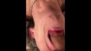 Submissive Mature MILF POV Tongue Out Deepthroat Upside Down Face Fuck Bulge