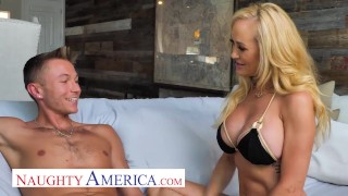 Naughty America - The beautiful MILF, Brandi Love, enjoys the sun, her pool, and young cock!