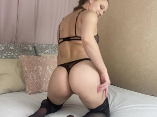 teaser - teasing and fingering pussy wearing black stockings