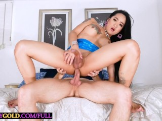 Juicy shemale anna rides on his anal after...