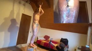 Mummification! Vibrator on hairy pussy! Heater heating (sweat)!