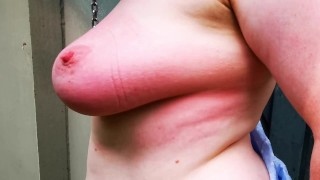 Bound my tits and beat them up