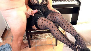 CFNM Handjob Huge Cumshot on Stockings - Sexy Teacher Piano Lesson Yummy.mom