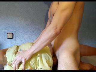 Hot guy fucks his pocket pussy and has a loud intense orgasm moaning