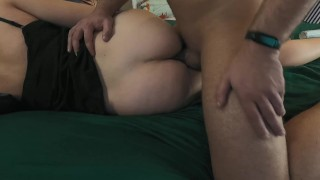 Hot morning anal creampie for chubby milf