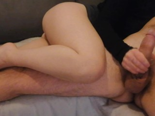 Handjob mistress jerks him off and ruins his...