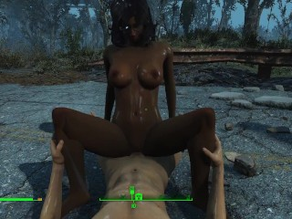 Gentle sex of a the pouring rain game...