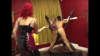 redhead devil spank poor sub in dungeon