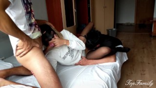 Cuckold. The husband prepares his wife for sex with her lover.