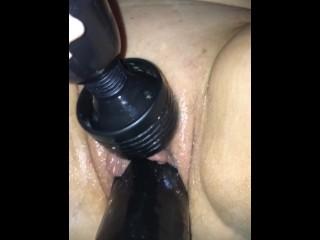 "Hard trembling orgasm on my 12"" BBC dildo"