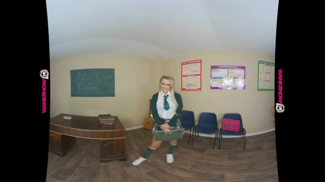 Sexy blonde strips out of her college uniform while you wank your dick 4