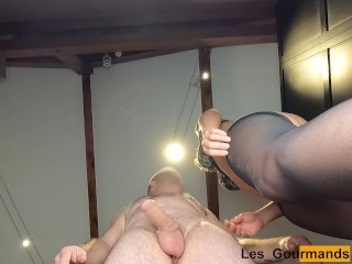 MILF fucked from behind; view from below; getting her pussy filled with dripping creampie