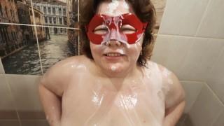 Bizzare porn russian amateur BBW under shower of a fake cum