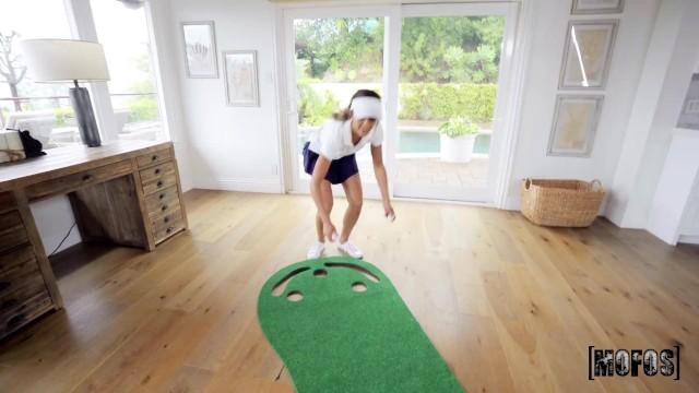 Mofos - Petite Brunette Aila Donovan Gets Bored Of Golf & Rides Her Instructors Big Cock 2