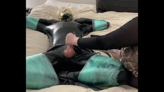 Latex Sub Frogtied with Condom Bondage and Made to Cum