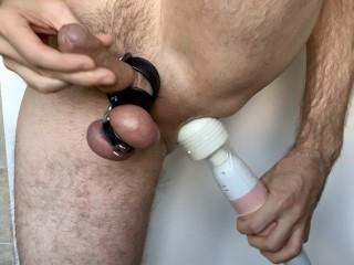 Insertion huge magic wand vibrator fist...