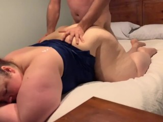 Swinger friend stops by for facefucking bbw...