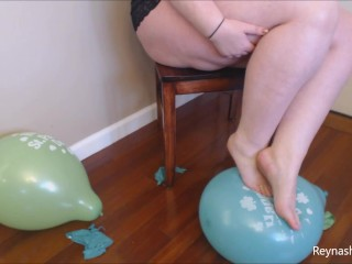 Balloons and arches feet balloon blowing tits looner...
