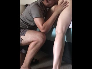 Licking wife from behind...