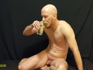 Filthy pig Nikk drinks a PINT of his own piss