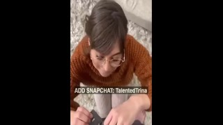 POV STEP MOM WITH GLASSES SUCKING COCK ON SNAPCHAT